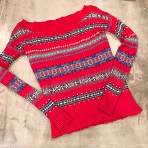 American Eagle red Nordic sweater off the shoulder